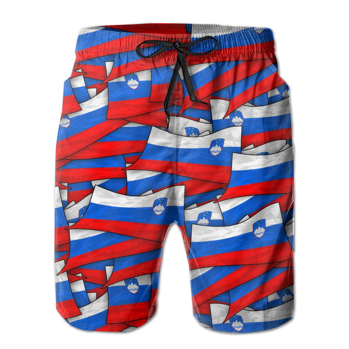 Mens Swim Trunks Slovenia Flag Wave Collage Quick Dry Beach Board Shorts with Mesh Lining