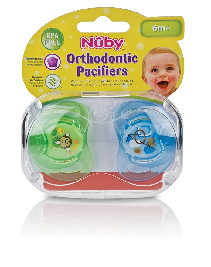 18-36 Months Assorted Colors 2 ea 6pk NUK Natural Shape Orthodontic Pacifiers