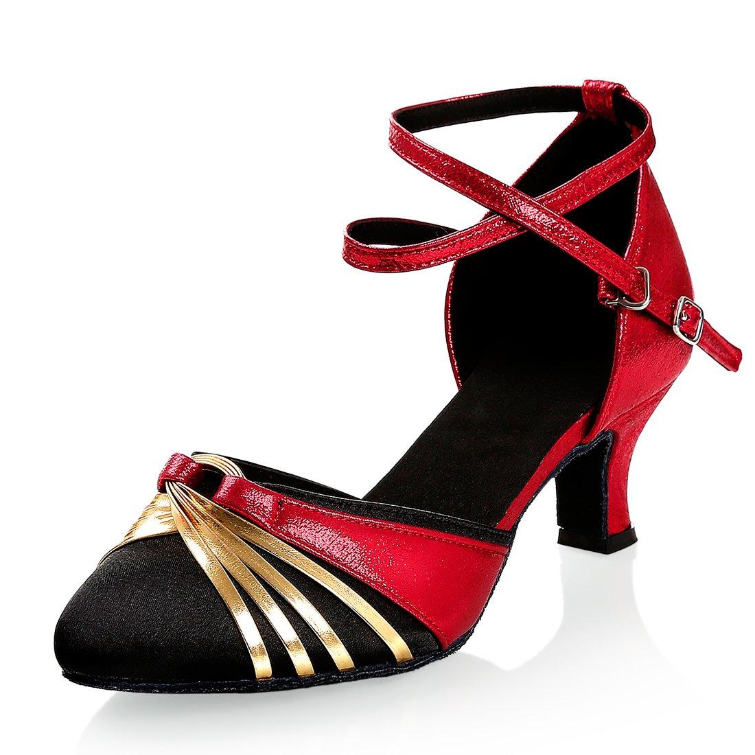 GetMine Women's Latin Dance Shoes Satin Ballroom Salsa Wedding Performance Dance Shoes 2.2'' Heel Red
