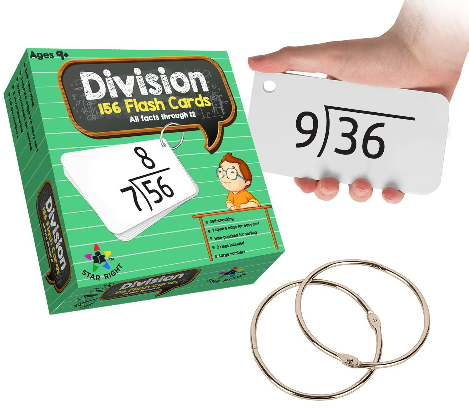 amazoncom star right education math division flash cards 0 12 all facts 156 cards with 2 rings toys games