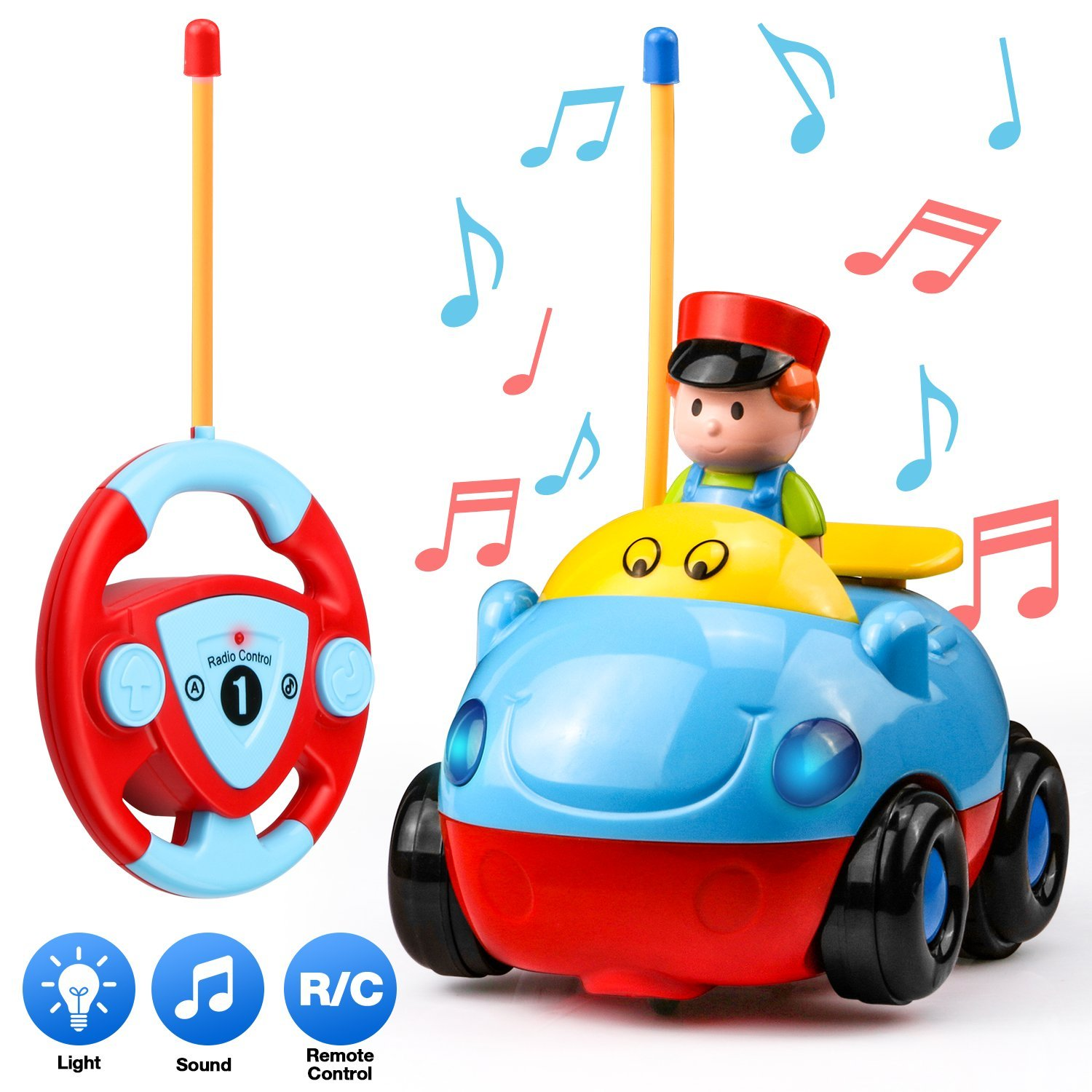 UNEEDE Toddler Remote Control Car Cartoon Rc Race Car Radio Control Vehicle Rc Plice Car Remote Control Toy with Music, Light for Baby Kid Boy Toddler Rc Car Toy as Children Holiday Birthday Gift