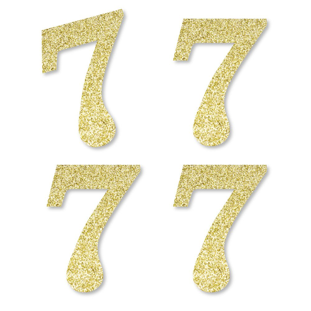 Gold Glitter 7 - No-Mess Real Gold Glitter Cut-Out Numbers - 7th Birthday Party Confetti - Set of 24