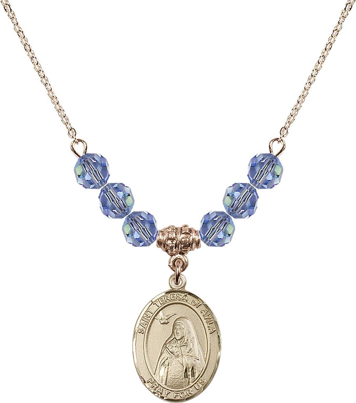 Bonyak Jewelry 18 Inch Hamilton Gold Plated Necklace w// 6mm Light Blue September Birth Month Stone Beads and Saint Teresa of Avila Charm