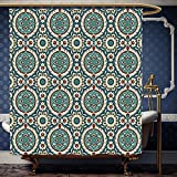 Wanranhome Custom-made shower curtain Arabian by Mod Graphic Design of Classic Ancient Eastern Islamic Art Patterns in Retro Nostalgic Colors Multi For Bathroom Decoration 72 x 96 inches
