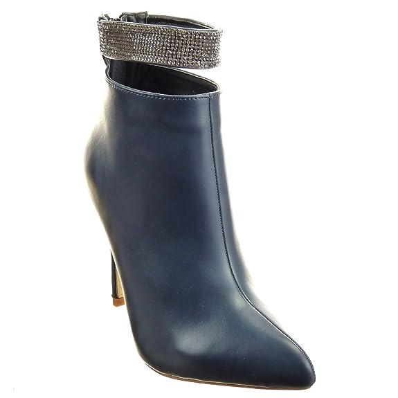 Sopily - Zapatillas de Moda Botines Stiletto Low boots Tobillo mujer strass Talón Tacón de aguja alto 11 CM - plantilla sintética - forradas en piel - Azul ...