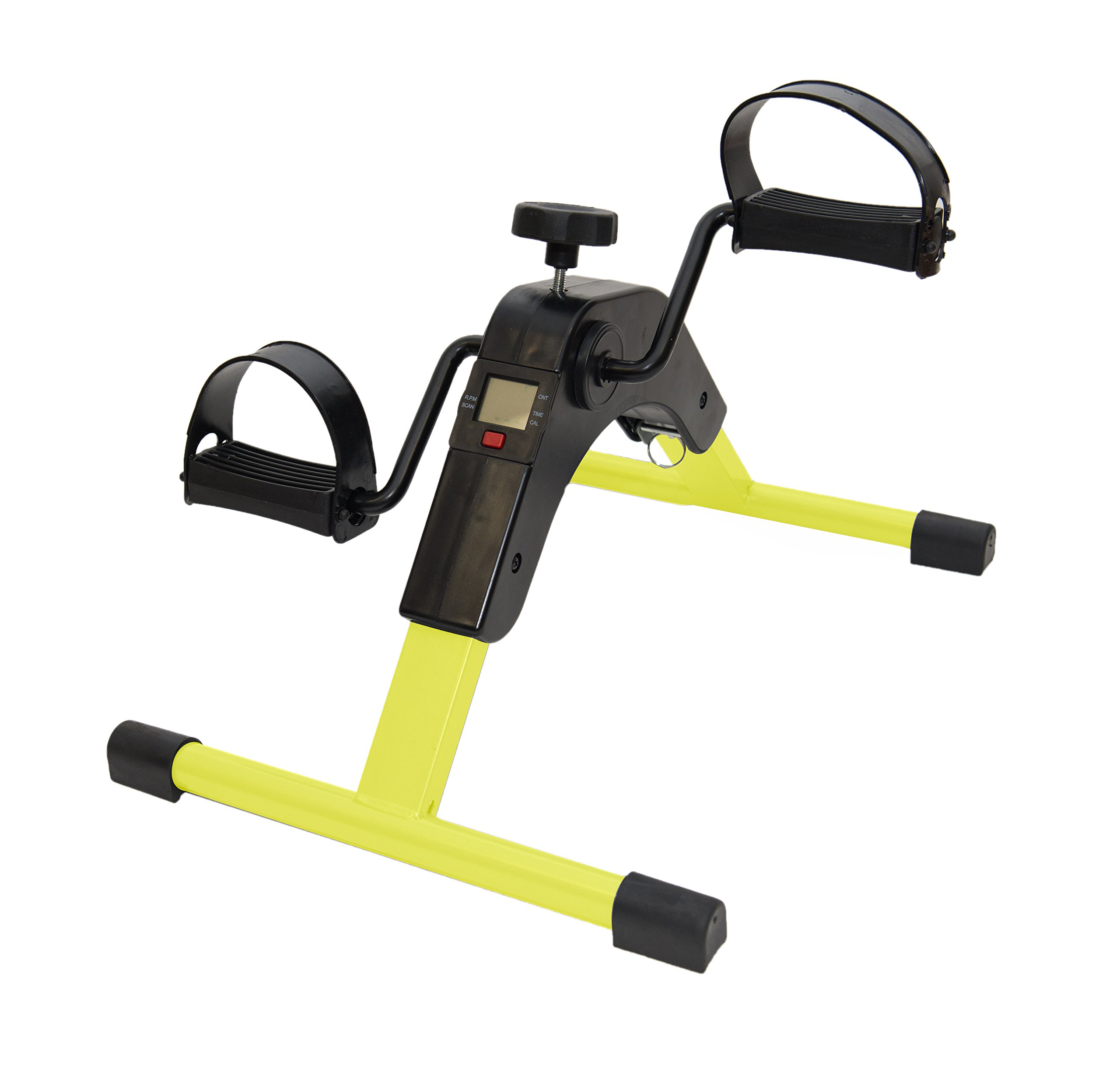 AdirMed Digital Foldable Mini Floor Foot Pedal Exerciser Leg Machine - Under Desk Exerciser - Fully Assembled No Tools Required (Yellow) by AdirMed (Image #1)