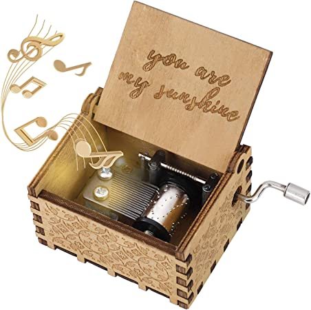 Heveer Caja de Música de Manivela de Madera Caja Musical Tallada a Mano del Tema Retro Mejor Regalo para Pareja Niños Amigos: Amazon.es: Hogar