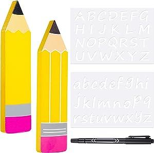 5 Pieces DIY Pencil Teacher Name Plates Set, Include 2 Personalized Pencil Teacher Name Plate Funny Teacher Appreciation Present Teacher Desk Sign Classroom Decor, 2 Letter Template and Erasable Pen