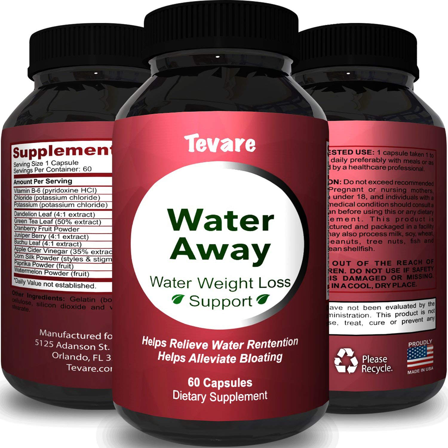 Premium Water Pills Diuretic Natural & Pure Dietary Supplement for Water Retention Relief Weight loss Detox Cleanse for Men & Women with Vitamin B-6 Potassium Chloride Dandelion Root by Tevare by Tevare