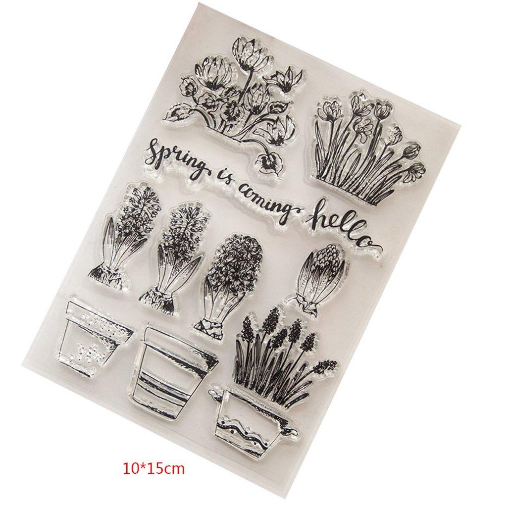 Mentin Fleur Tampons Clairs Transparents En Silicone PVC Pour DIY Loisirs Cr/éatifs Cadeau Noel Enfant