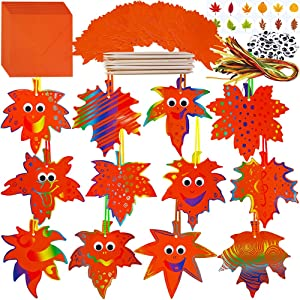 Winlyn 72 Sets Magic Color Scratch Fall Leaf Ornaments Craft Kit Scratch Art Paper Maple Leaf Cutouts Hang Favor Tags Bookmarks for Kids Classroom Autumn Party Favors Halloween Thanksgiving Decor