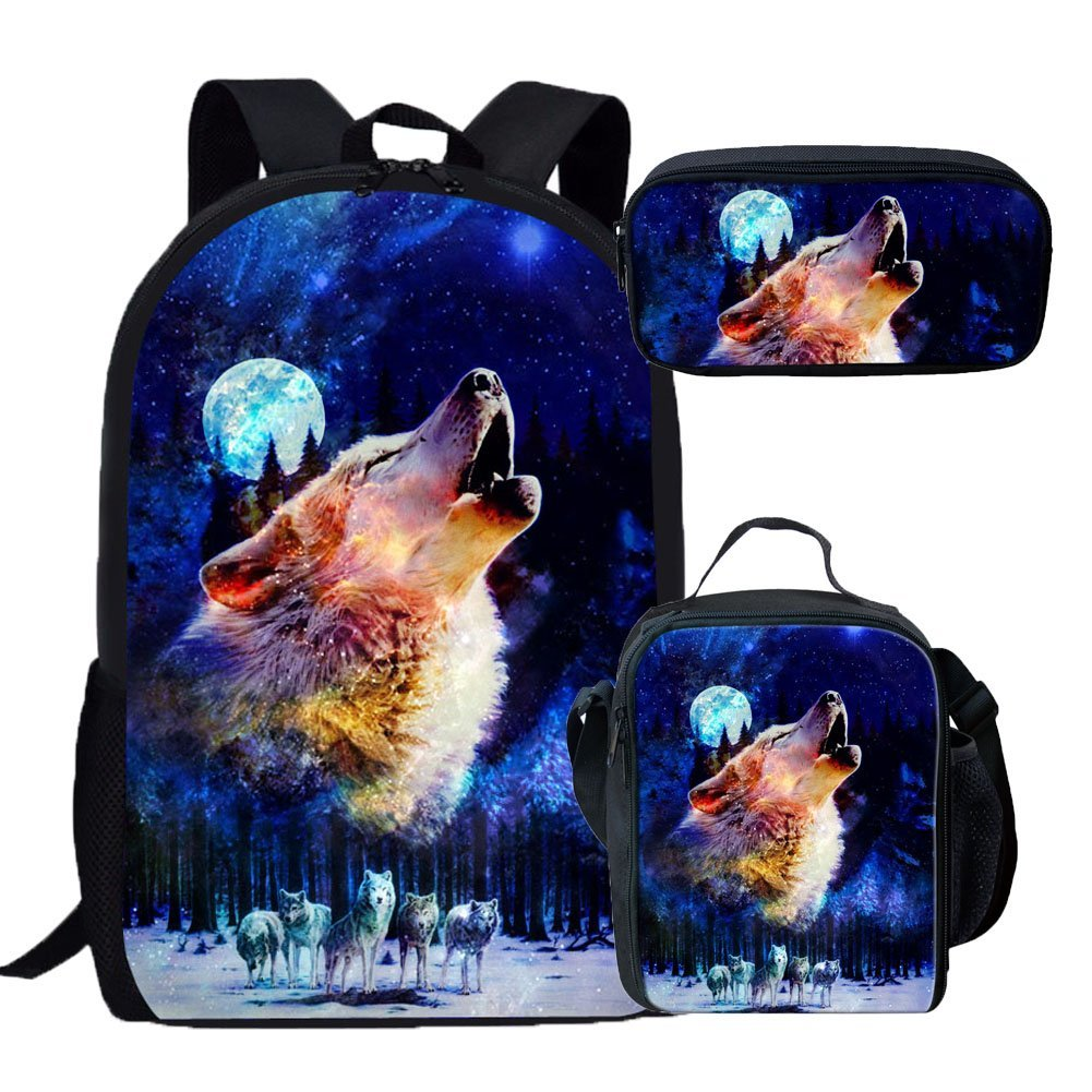 Coloranimalファッション3d動物パターンInsulated Lunchバッグ K-H3565C+H3565G+H3565K  Wolf Backpack+Lunch Bag+Pencil Case B07G2P9XZH