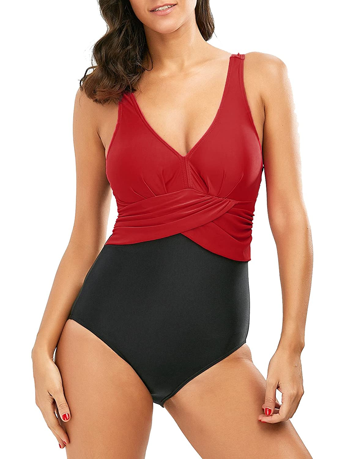 4fd138d183bd6 Womens One Piece Slimming Plus Size Swimsuits Tummy Control Swimwear V-Neck  Stylish Bathing Suits at Amazon Women s Clothing store