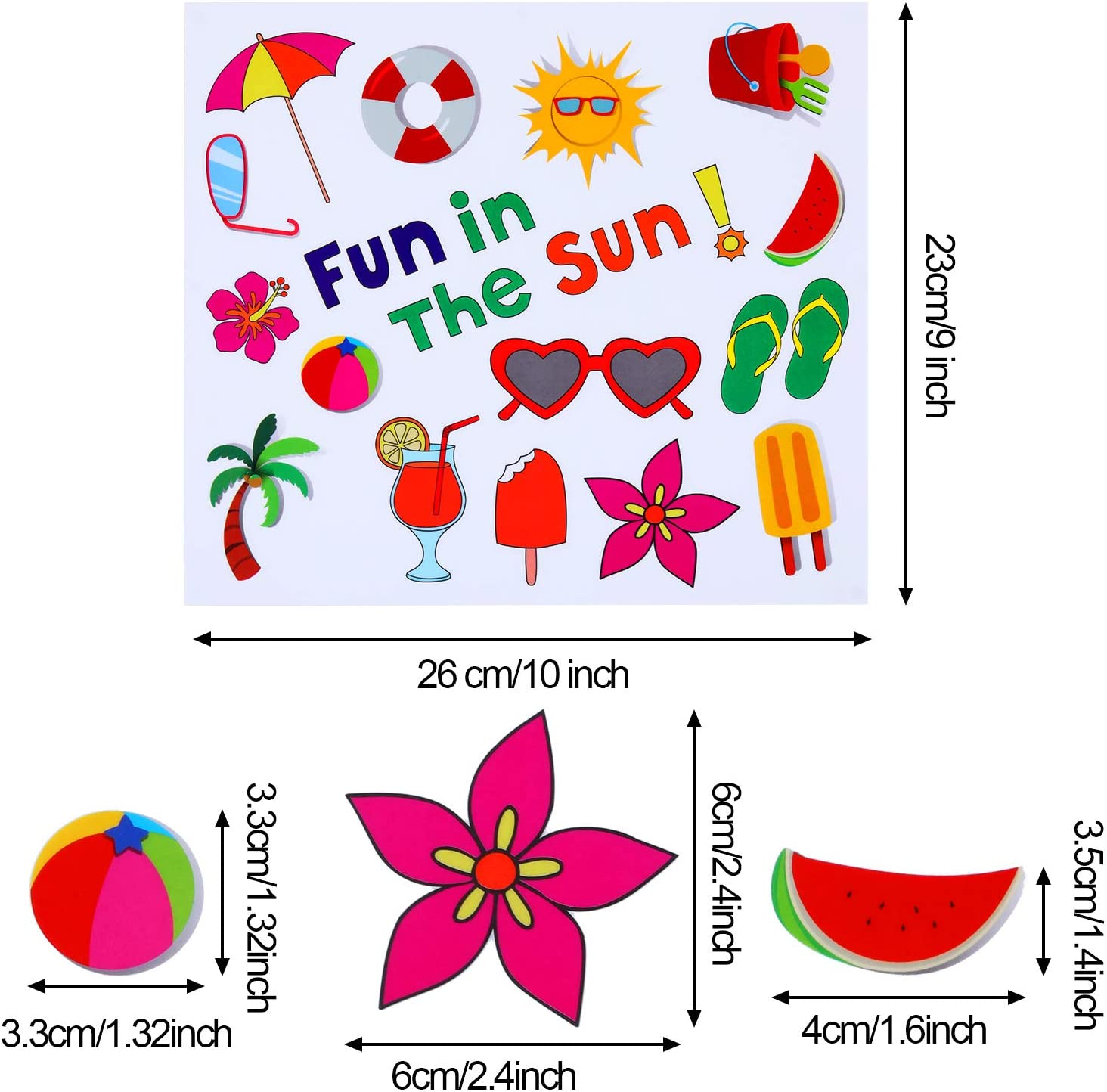 Flip Flops 200 Pieces Summer Window Clings Fun in The Sun Static Stickers Window Clings with Sun Beach Drinks for Summer Party Decorations