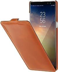 StilGut UltraSlim Case, Custodia Flip Case per Samsung Note 8 Cover Verticale in Vera Pelle Pregiata, Cognac