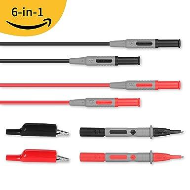 Janisa conjunto de cables multifunción para multímetro con cables de extensión,sondas de prueba, pinzas de cocodrilo 6-in-1 Kit: Amazon.es: Industria, ...