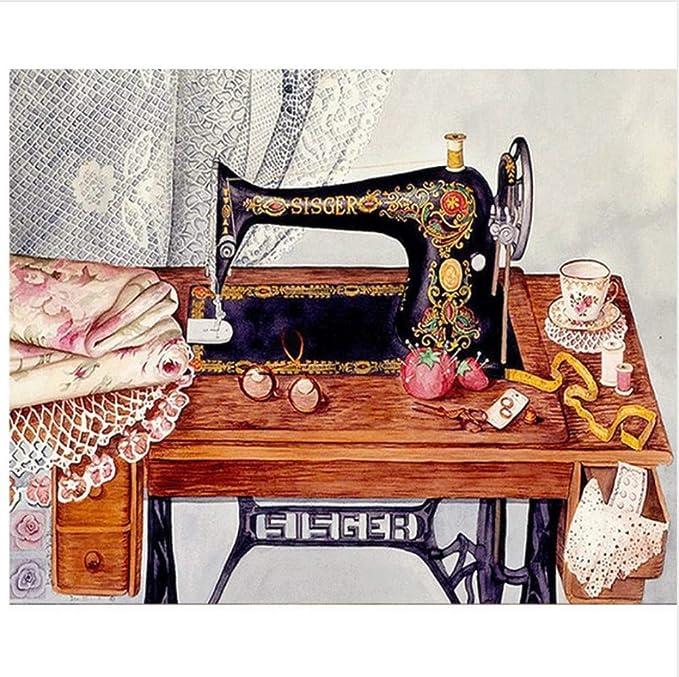 WACYDSD Pintura por Números Maquina De Coser Abstracta Pintura Al ...