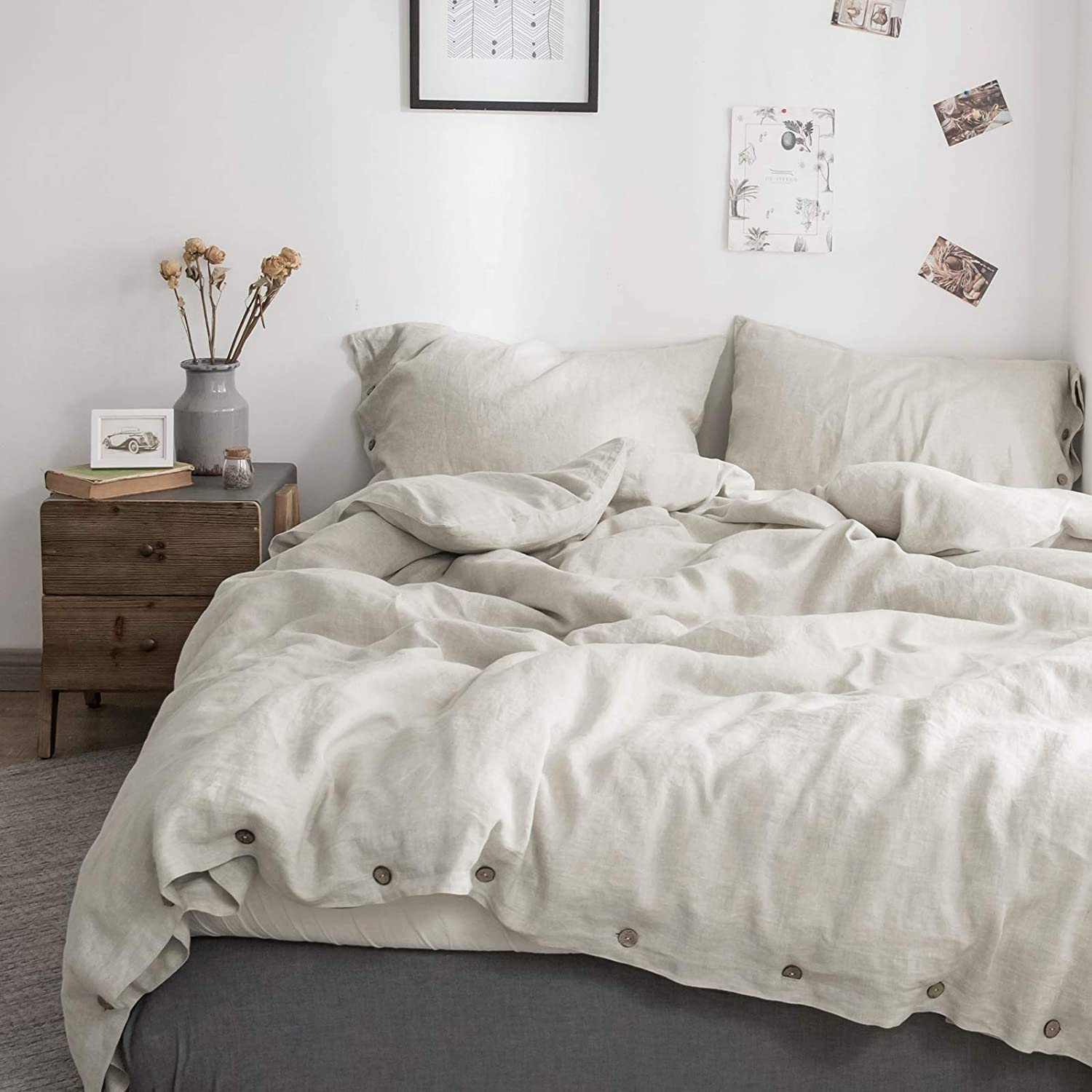 SimpleOpulence 100% Linen Duvet Cover Coconut Luxury goods Set Max 68% OFF with Button C