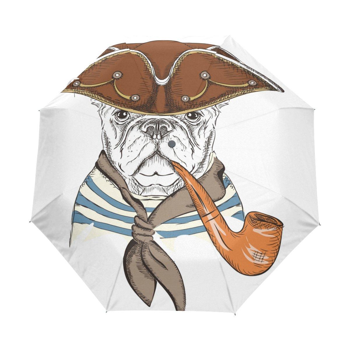 Senya Saobao防風と防雨トラベル傘と自動開いて閉じFolding犬パイプと帽子ポータブル折りたたみ式太陽雨傘 B07FDWB5DK