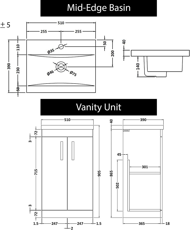 Turin 500mm/Floor Mounted Bathroom Furniture Vanity Unit Indigo Grey Gloss 2 Door with/Mid Edge Basin /& Mixer Tap Mode