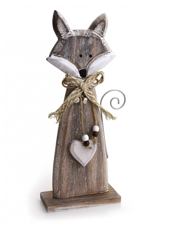 Amazon.de: Deko Figur Fuchs mit Herz 29 cm groß, Holz braun weiß ...