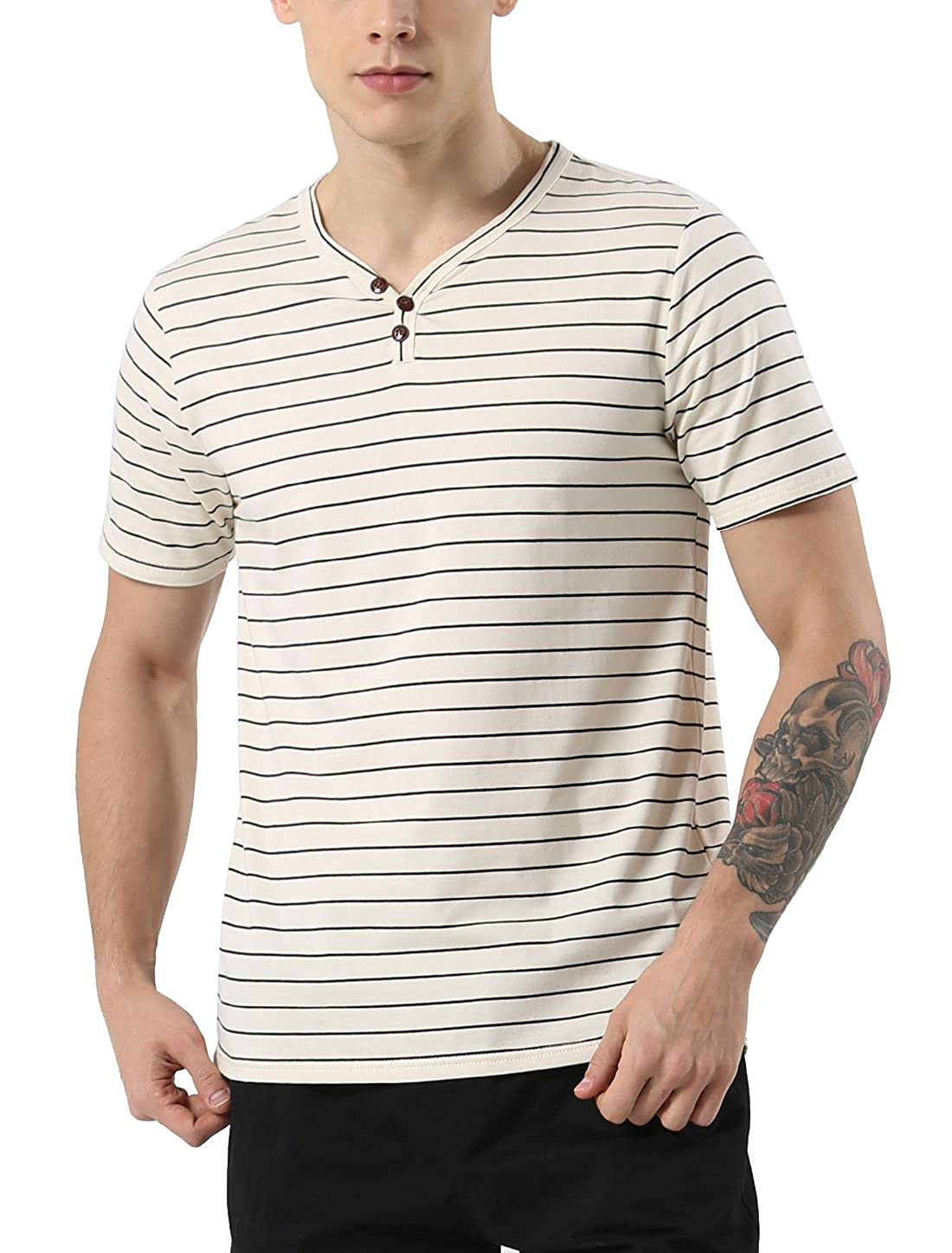 uxcell Men Casual Regular Fit Striped 3 Button Short Sleeve Henley Shirts