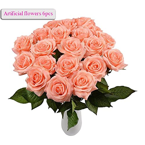 Bloom silk flowers amazon meiwo artificial flowers 6pcs round roses full bloom artificial silk real touch flowers for home mightylinksfo