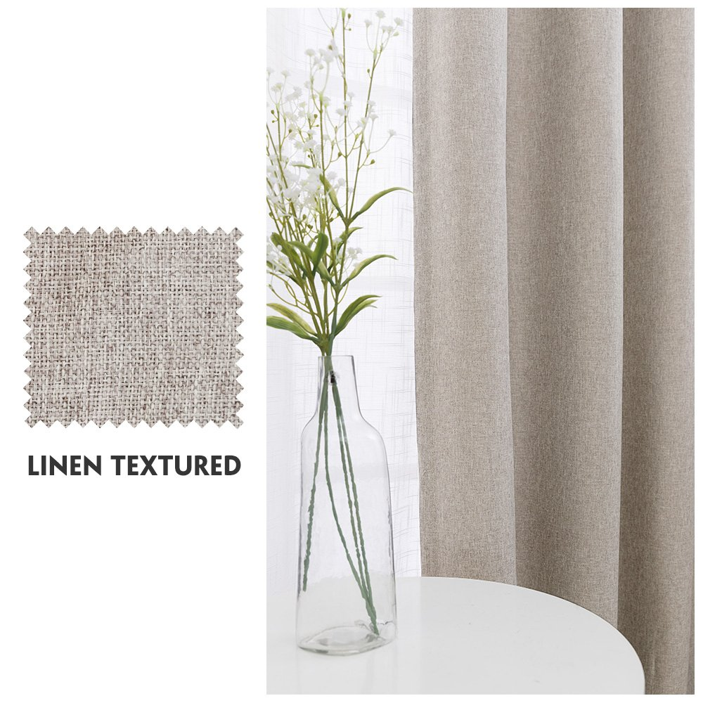 Faux Linen Room Darkening Curtains for Bedroom /63 inch Long Moderate Blackout Curtain Beige