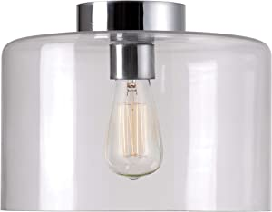 Kenroy Home Casual 1 Light Flush Mount 9 Inch Height, 12 Inch Width, Chrome Finish