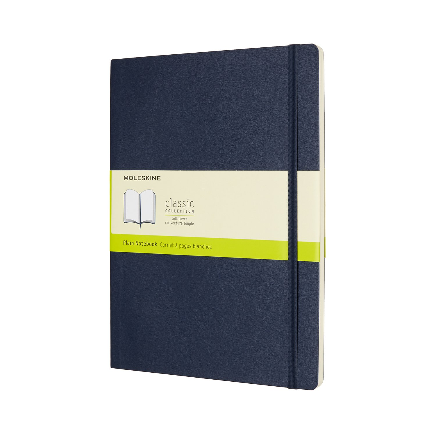 Moleskine Classic Notebook XL Plain Sapphire Blue Softcover.