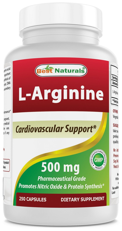 Best Naturals L-Arginine 500mg 250 Capsules - Pharmaceutical Grade L Arginine supplement promotes nitric oxide synthesis