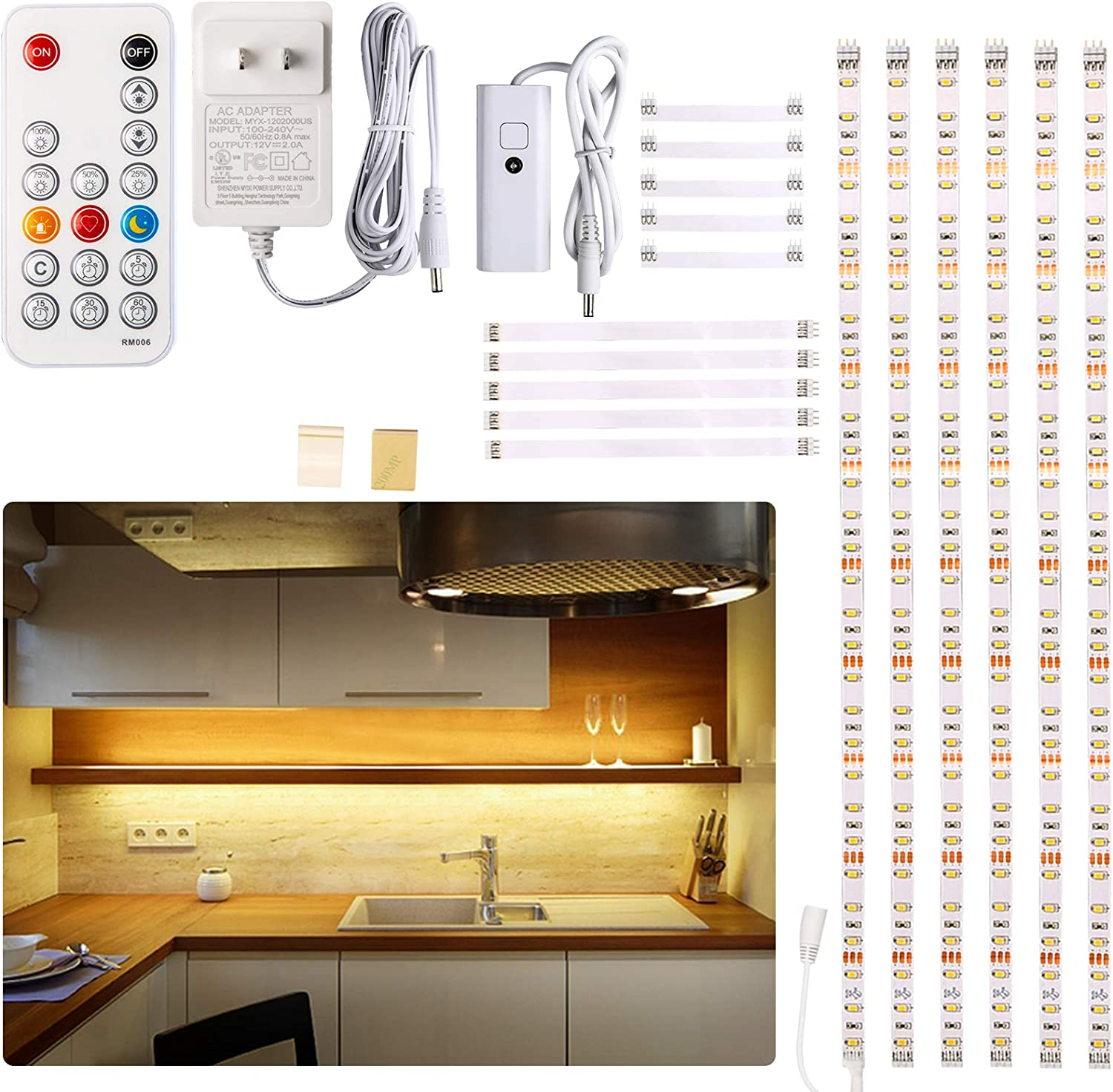 Under Cabinet Led Lighting Kit 6 Pcs Led Strip Lights With Remote Control Dimmer And Adapter Dimmable For Kitchen Cabinet Counter Shelf Tv Back Showcase 2700k Warm White Bright Timing Amazon Com