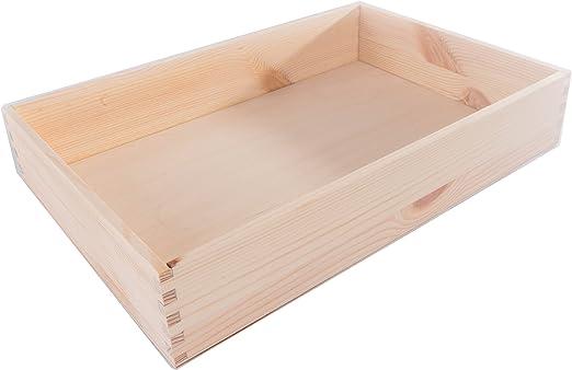 SEARCHBOX Tamaño Mediano de Madera Abierto Caja/Bandeja/Madera de Pino/Caja de almacenaje/sin pintar/30 x 20 x 5,4 cm: Amazon.es: Hogar
