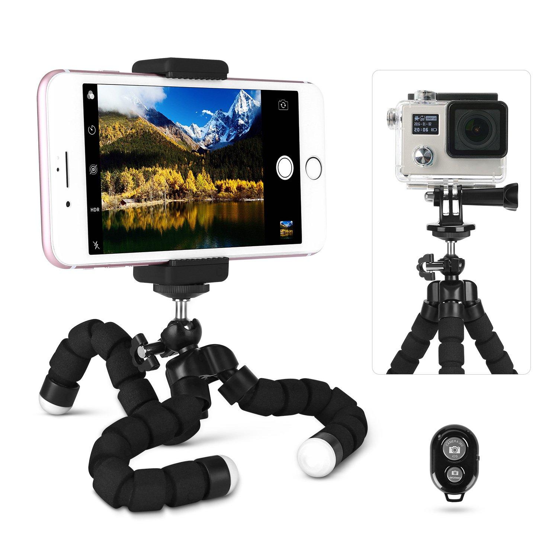 LOETAD Treppiedi per Cellulare Octopus Style Registrabile Flessibile Cavalletto di Bluetooth Supporto per Iphone Telefono Qualsiasi Smartphone GoPro Videocamera