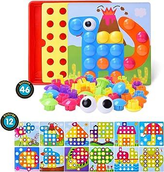 LEEHUR Puzzle 3D Mosaico Infantiles de Fichas, Juguete Educativo de Primera Infancia para Crear Multiples Combinacones y Distinguir Color para Niños - 46 Piezas: Amazon.es: Juguetes y juegos