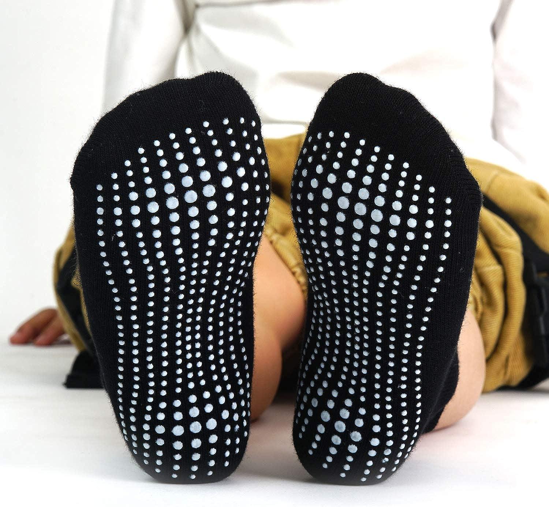 Aminson Kids Boys Girls Active Grip Ankle Low Cut Athletic Socks Anti Non Skid/Slip Slipper Crew Socks 6-12 Pack