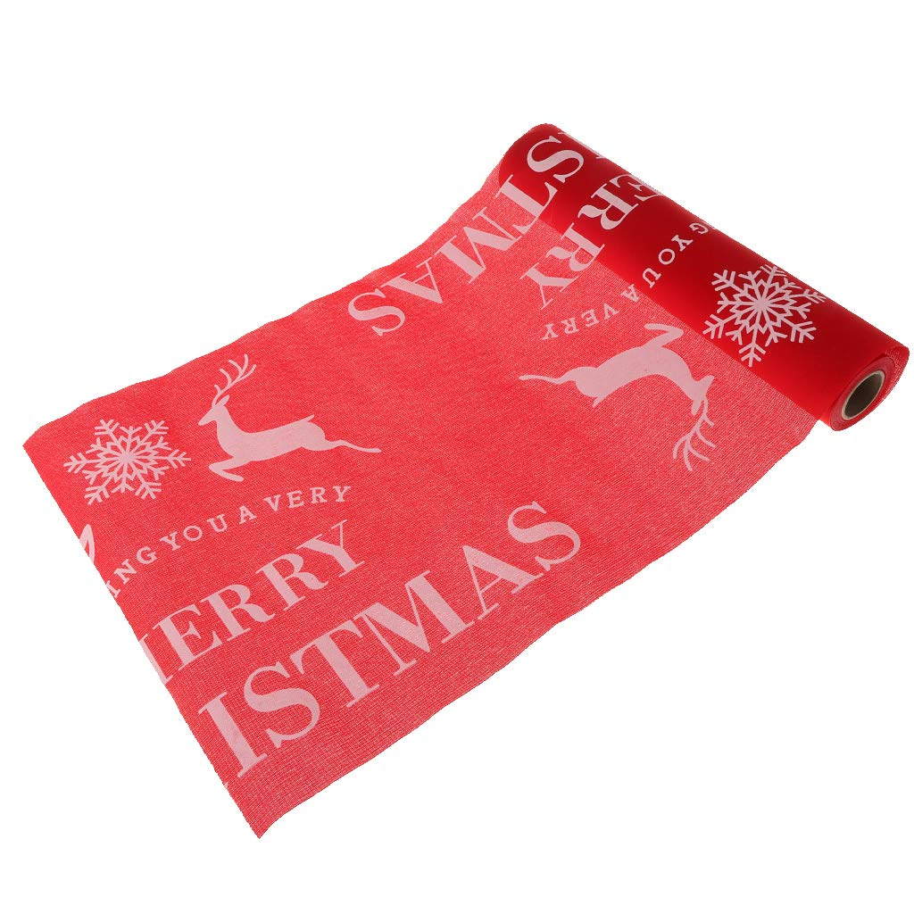 Prettyia Large Christmas Reindeer Printed Table Runner Table Cloth Home Table Centerpiece Christmas Decor - Beige