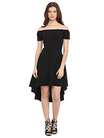 Martini Black Hi Low Off Shoulder Knee Length Party Dress  Amazon.in   Clothing   Accessories 8e92f1286