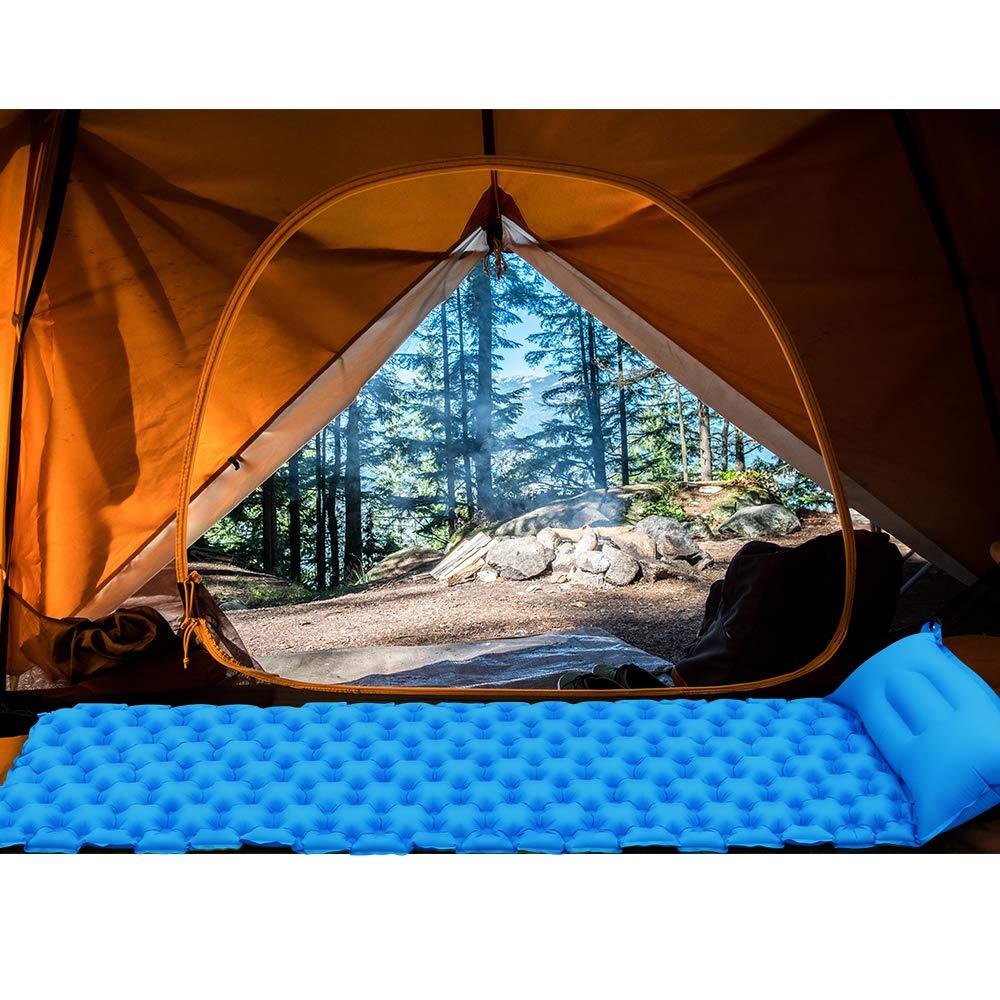 ZXHT Aufblasbare Luftmatratze mit Kissen,40D Nylon Ultralight Camping Isomatte,Wasserdichte Luftmatratze f/ür Camping,Wandern,Strand,Zelt Schlafsack,mit Aufbewahrungstasche,See Blau