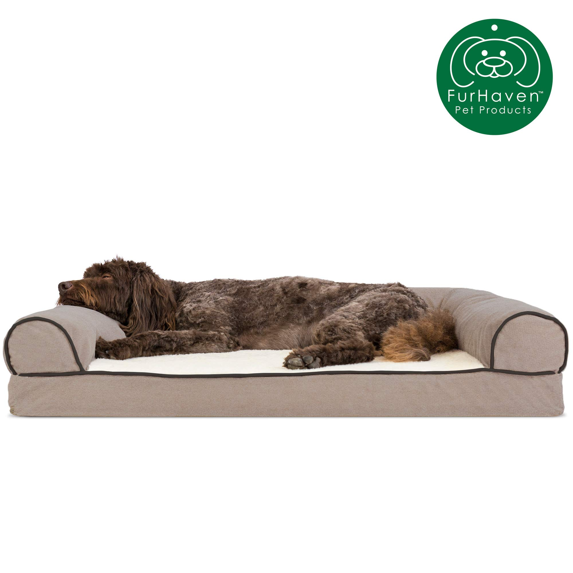 Furhaven Pet Dog Bed | Memory Foam Faux Fleece & Chenille Traditional Sofa-Style Living Room Couch Pet Bed w/ Removable Cover for Dogs & Cats, Cream, Large