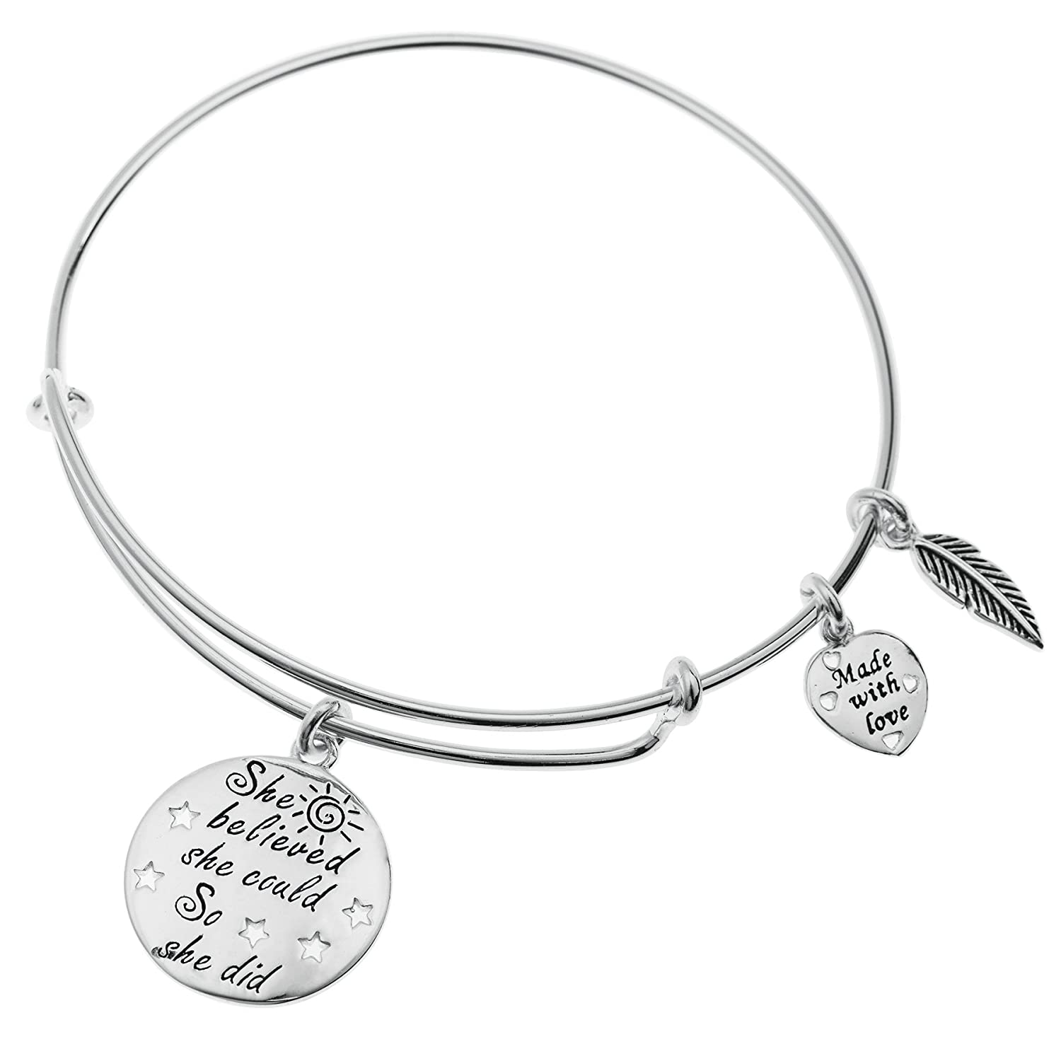 925 Sterling Silver She Believed She Could So She Did Heart Charm Adjustable Wire Bangle Dreambell - Alex Ani Style NBL0028X1