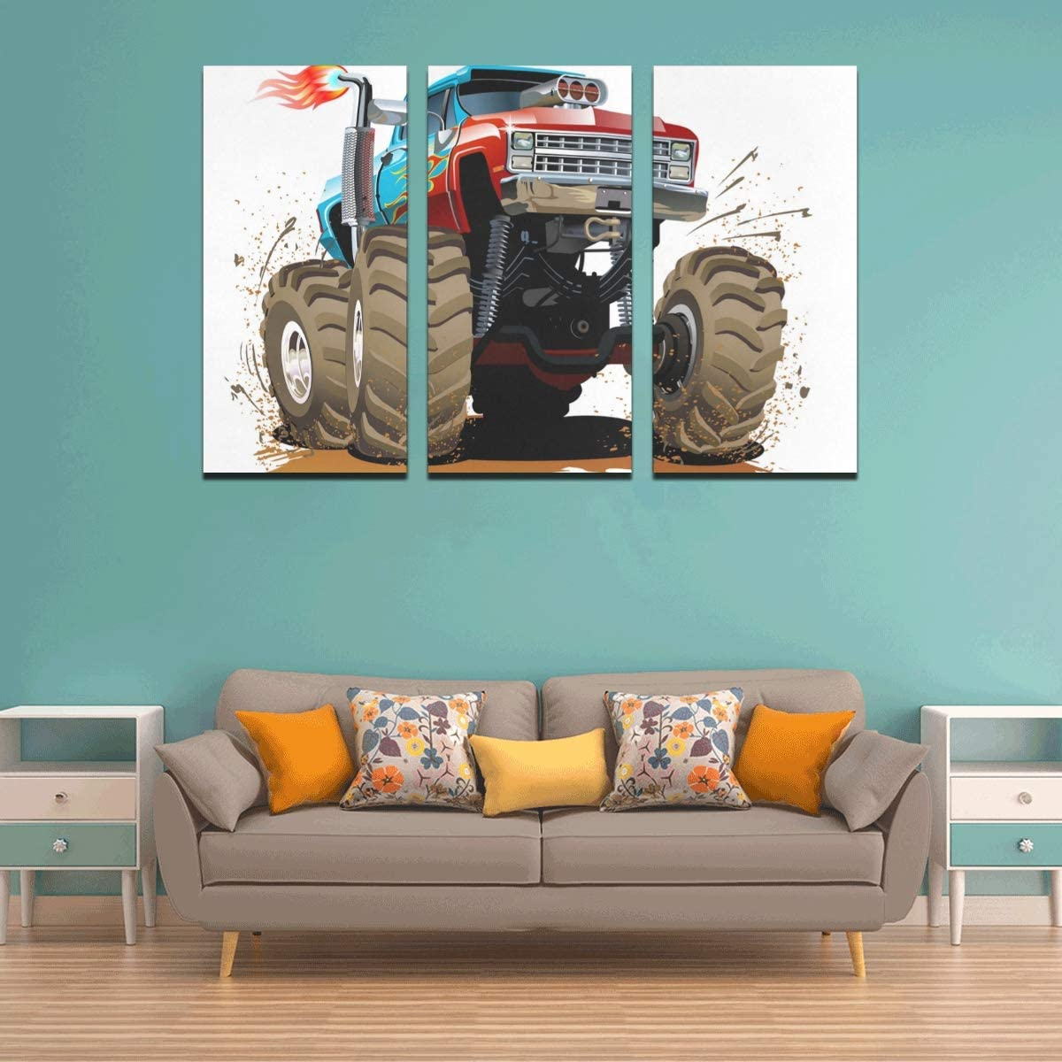 3 Panel Living Room Canvas Wall Art Cute Cartoon Monster Truck Art Wall Decor For Boys Wall Decor For Kids Wall Art Modern For Home Living Room Bedroom Bathroom Wall Decor Posters