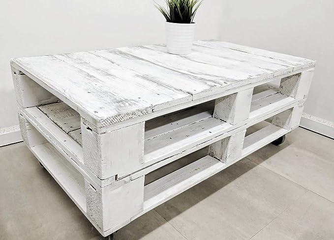 Dydaya Mesa de Centro Vintage Blanca echa con Madera de Palets & Pale - Mesas auxiliares Bajas & pequeñas - Muebles Blancas & Objectos Vintage (Envejecida): ...