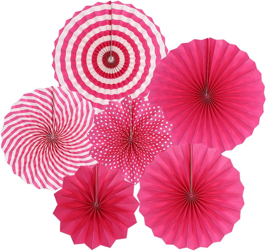 zilue Hanging Hot Pink Paper Fans Decoration Set for Wedding Birthday Party Valentine's Day Round Events Accessories Set of 6