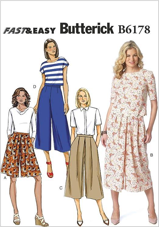 Tallas 34-42 Patrones de Costura para t/única y Vestido de Mujer Butterick Patterns 6178 A5