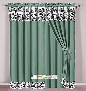 4 pc striped felt spring floral garden curtain set cyan green blue off