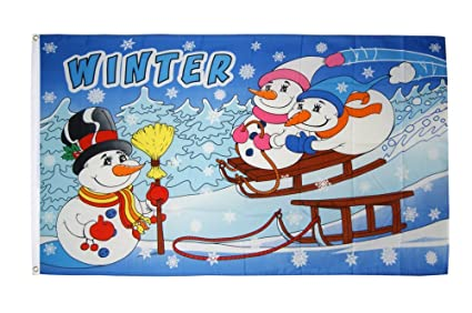 Fahne Flagge Winter Mit Schneemann Gratis Sticker Flaggenfritze