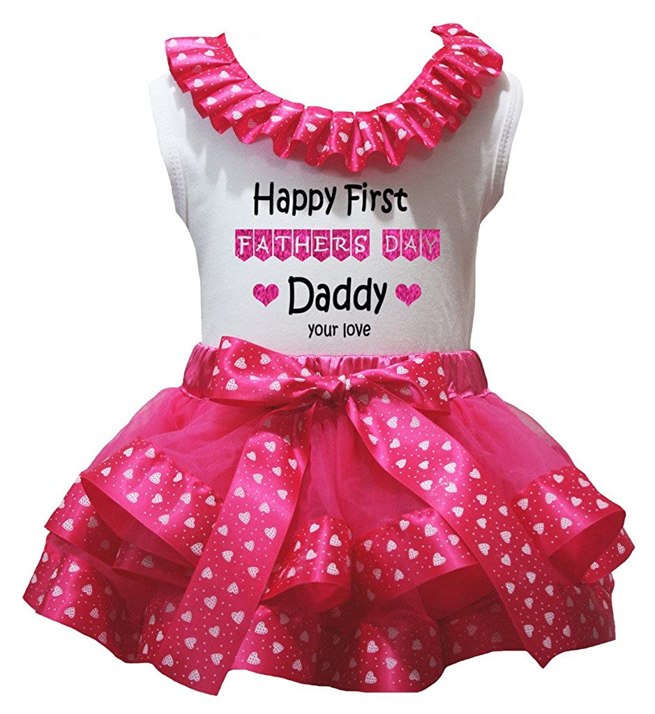 Petitebella Happy First Fathers Day Shirt hearts Hot Pink Petal Skirt Nb-2y