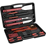 Cymas BBQ Set,18-Piece BBQ Grill Tool Kit with BBQ Tongs, Fork, Spatula, Grill Brush, All-purpose Knife, Basting Brush, 4 Skewers,8 Corn Holders in 1 Storage Case