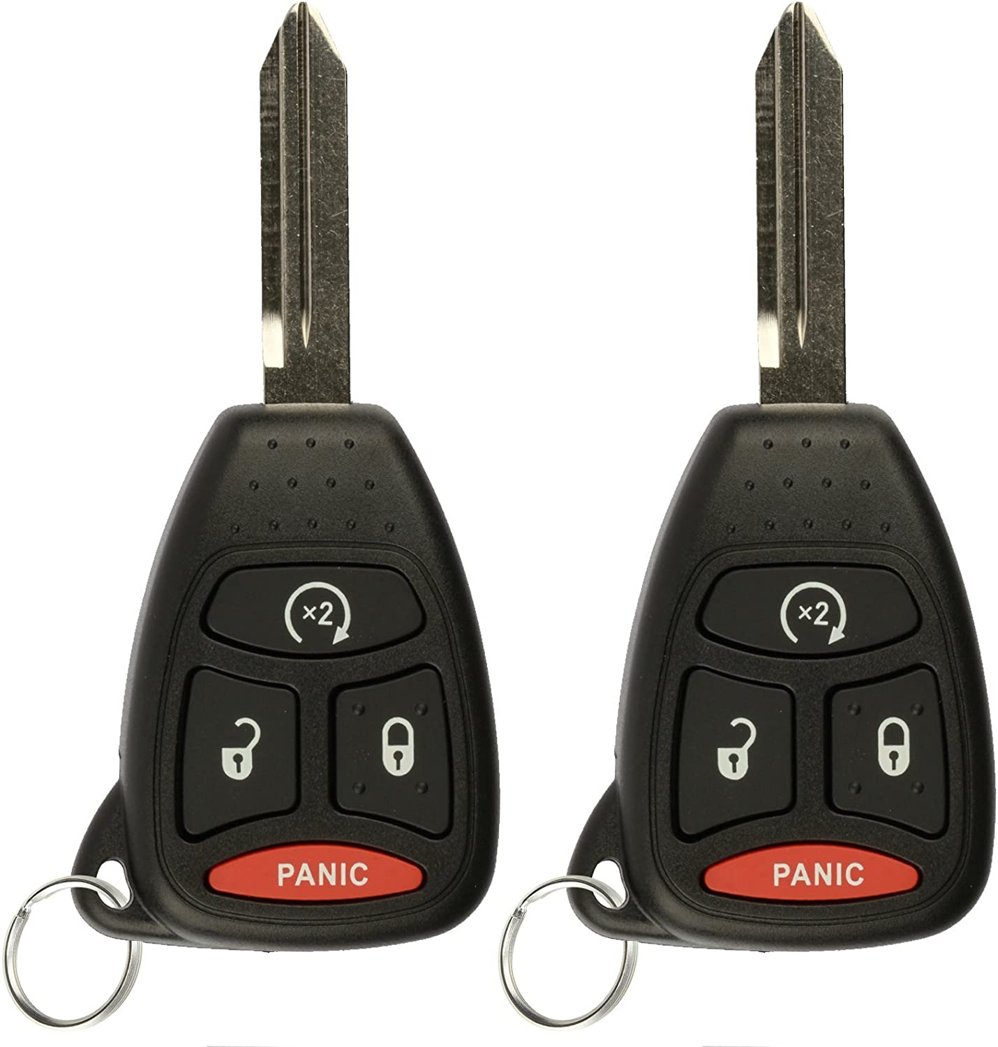 KeylessOption Keyless Entry Remote Control Uncut Car Key Fob Replacement for OHT692427AA KOBDT04A Pack of 2